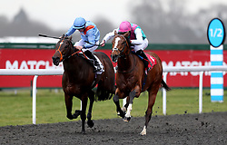 Fabricate ridden by Andrea Atzeni (right) during the Better Odds With Matchbook Magnolia Stakes during the Easter Family Fun Day at Kempton Park Racecourse.