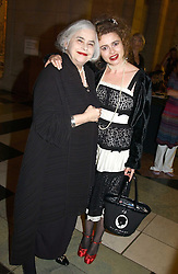 Left to right, MRS ELENA BONHAM-CARTER and her daughter actress HELENA BONHAM-CARTER at a party to celebrate the publication of  'Put On Your Pearl Girls!' by Lulu Guinness held at the V&A museum, London on 5th May 2005.<br />