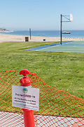 Covid19 Closed City Beaches and Parks Signage and Fencing at Main Beach
