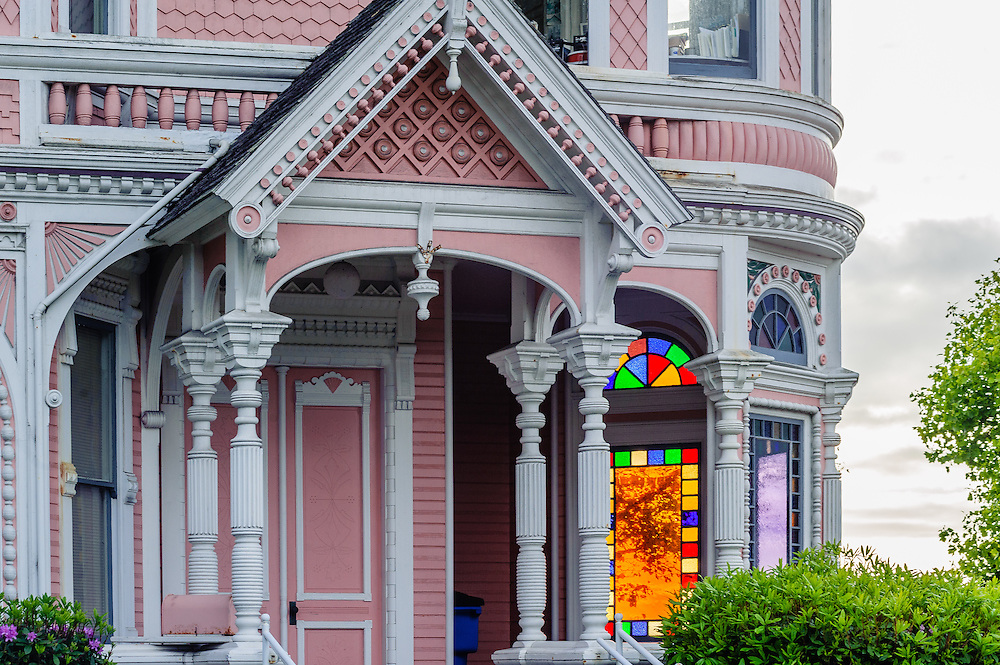 """Milton Carson Home (aka the """"Pink Lady""""), a Queen Anne style Victorian, completed in 1889, Eureka, California"""