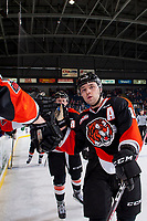 KELOWNA, CANADA - JANUARY 30: David Quenneville #19 of the Medicine Hat Tigers celebrates a goal against the Kelowna Rockets on January 30, 2017 at Prospera Place in Kelowna, British Columbia, Canada.  (Photo by Marissa Baecker/Shoot the Breeze)  *** Local Caption ***