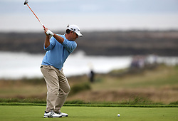 USA's Clark Dennis tees off the third hole during day three of the Senior Open at Royal Porthcawl Golf Club, Porthcawl.