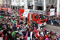 Ludwigshafen. 11.02.18 | <br /> 66. Traditioneller Fasnachtsumzug Mannheim-Ludwigshafen. Diesmal in Ludwigshafen.<br /> - Berufsfeuerwehr Ludwigshafen. 100 Jahre BF LU mit Handl&ouml;schkarre, Drehleiter, Firepocket, Fu&szlig;gruppe<br /> Bild: Markus Prosswitz 11FEB18 / masterpress (Bild ist honorarpflichtig - No Model Release!) <br /> BILD- ID 04364 |