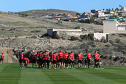 06.01.2014, Hotel Sheraton Salobre, Maspalomas, ESP, FC Augsburg Trainingslager, im Bild die Spieler auf dem Trainingsplatz vor der kargen Landschaft<br /> <br /> Fussball, Bundesliga, FC Augsburg, FCA, Trainingslager, Gran Canaria, Maspalomas, Saison 2013 - 2014, 05+06 01 2014,<br /> Foto: Eibner // during a practice session of the German Bundesliga Club Borussia Dortmund at their training camp at the Hotel Sheraton Salobre in Maspalomas, Spain on 2014/01/06. EXPA Pictures © 2014, PhotoCredit: EXPA/ Eibner-Pressefoto/ Krieger<br /> <br /> *****ATTENTION - OUT of GER*****