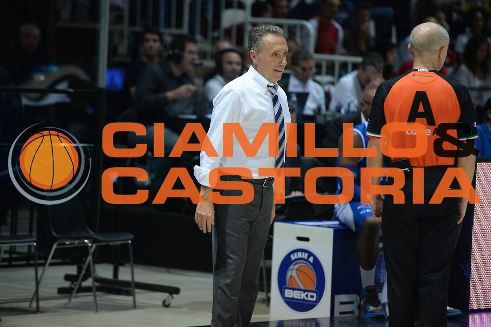 DESCRIZIONE : Bologna campionato serie A 2013/14 Acea Virtus Roma Enel Brindisi <br /> GIOCATORE : Piero Bucchi<br /> CATEGORIA : allenatore coach delusione<br /> SQUADRA : Enel Brindisi<br /> EVENTO : Campionato serie A 2013/14<br /> GARA : Acea Virtus Roma Enel Brindisi<br /> DATA : 20/10/2013<br /> SPORT : Pallacanestro <br /> AUTORE : Agenzia Ciamillo-Castoria/GiulioCiamillo<br /> Galleria : Lega Basket A 2013-2014  <br /> Fotonotizia : Bologna campionato serie A 2013/14 Acea Virtus Roma Enel Brindisi  <br /> Predefinita :