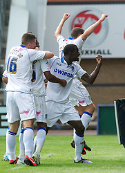 SHREWSBURY, ENGLAND - Saturday, August 25, 2012: Tranmere Rovers' Jean-Louis Akpa Akpro celebrates scoring a late equalising goal against Shrewsbury Town during the Football League One match at Greenhous Meadow. (Pic by Dave Richards/Propaganda)