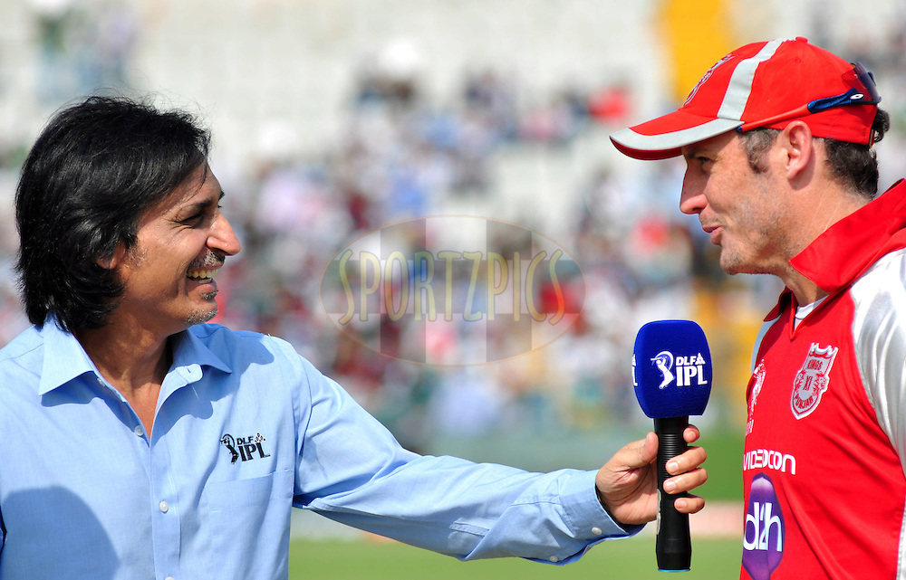 Commentator Rameez  Raja Kings  with X1 Punjab captian David Hussey during toss match 33 of the the Indian Premier League ( IPL) 2012  between The Kings X1 Punjab and The Mumbai Indians held at the Punjab Cricket Association Stadium, Mohali on the 25th April 2012..Photo by Arjun Panwar/IPL/SPORTZPICS