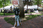 """A cardboard cutout of Rufus, the Ohio University mascot, greets Ohio University alumni and their families as they arrive for a barbecue on the College Green on May 31, 2014. The event was part of the """"On The Green"""" weekend, hosted by the Ohio University Alumni Association. Photo by Lauren Pond"""