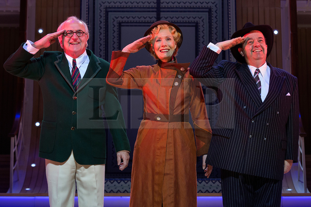 © Licensed to London News Pictures. 30/01/2015. London, England. L-R: Simon Rouse as Elisha Whitney, Jane Wymark as Evangeline Harcourt and Hugh Sachs as Moonface Martin. The Sheffield Crucible Theatre production of Cole Porter's classic musical comedy, Anything Goes, opens at the New Wimbledon Theatre, London, before embarking on a UK tour. Opening on 29 January and running to 7 February 2015, the musical is directed by Daniel Evans with Debbie Kurup as Reno and Matt Rawl as Billy, featuring Hugh Sachs, Simon Rouse and Jane Wymark. Photo credit: Bettina Strenske/LNP