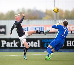 Falkirk's Craig Sibbald scoring their goal. half time : Falkirk 1 v 0 Dunfermline, Scottish Championship game played 15/10/2016, at The Falkirk Stadium.
