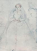 Elizabeth I (1533-1603) Queen of England and Ireland from 1558. Last Tudor monarch. Crayon drawing of 1575 attributed to Fredrigo Zuccero or Zucchero.