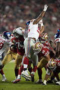 New York Giants rookie defensive end B.J. Hill (95) leaps while trying in vain to block a second quarter extra point during the NFL week 10 regular season football game against the San Francisco 49ers on Monday, Nov. 12, 2018 in Santa Clara, Calif. The Giants won the game 27-23. (©Paul Anthony Spinelli)