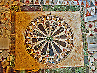 Close-up of a beautiful, intricate, mosaic tile floor in St. Mark's Basilica in Venice, Italy.