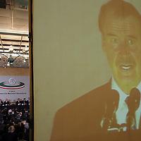 Queretaro, Qro.- El presidente Vicente Fox durante la ceremonia inaugural de la I Convencion nacional Hacendaria en la ciudad de Queretaro el 5 de Febrero de 2004. Agencia MVT / Mario Vazquez de la Torre.