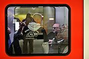 Frankfurt am Main | 20 Jun 2015<br /> <br /> Kundgebung der islamfeindlichen Gruppe &quot;Widerstand Ost West&quot; (WOW) um Ester Seitz, die Rechtspopulisten, rechte Hooligans und Neonazis vereint, auf dem Rossmarkt.<br /> Hier: Hooligans bei der Abreise von der Hauotwache Frankfurt in der S-Bahn S3 in Richtung Darmstadt.<br /> <br /> Photo &copy; peter-juelich.com