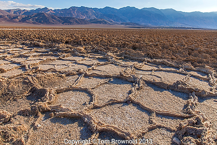 Salt percipitate t(he Devils Golf course) in Salt Creek in Death Valley, Cal. with the Armagosa range.