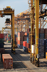 SRI LANKA COLOMBO 19MAR13 - Container terminal in the port of Colombo, Sri Lanka. Colombo is the largest city and the commercial, industrial and cultural capital of Sri Lanka with a population of about 750,000 inhabitants.<br /> <br /> jre/Photo by Jiri Rezac<br /> <br /> © Jiri Rezac 2013