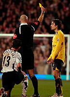 Photo: Ed Godden.<br /> Fulham v Arsenal. The Barclays Premiership.29/11/2006. Arsenal's Tomas Rosicky is shown the yellow card.