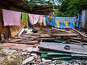 19 OCTOBER 2017 - BANGKOK, THAILAND: A former home site in Pom Mahakan slum in Bangkok. Most of the people living in the slum have been evicted, and the land they were living on has been turned into a volunteer center for people helping with the royal cremation, which is October 25-29, 2017. After the cremation the land will be turned into a public park.     PHOTO BY JACK KURTZ