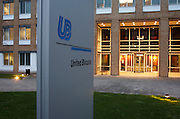 Company logo at the main entrance as evening nears at the United Biscuits Group offices, Hayes London