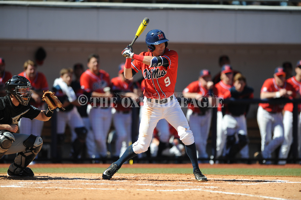 Ole Miss' Kyle Watson (9) vs. Stetson at Oxford-University Stadium in Oxford, Miss. on Saturday, March 7, 2015. Ole Miss won 8-3 in game 1 of a doubleheader to improve to 7-5.