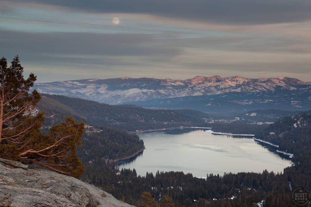 """Full Moon above Donner Lake 3"" - Photograph of a tree and a full moon above Donner Lake and Truckee, California."