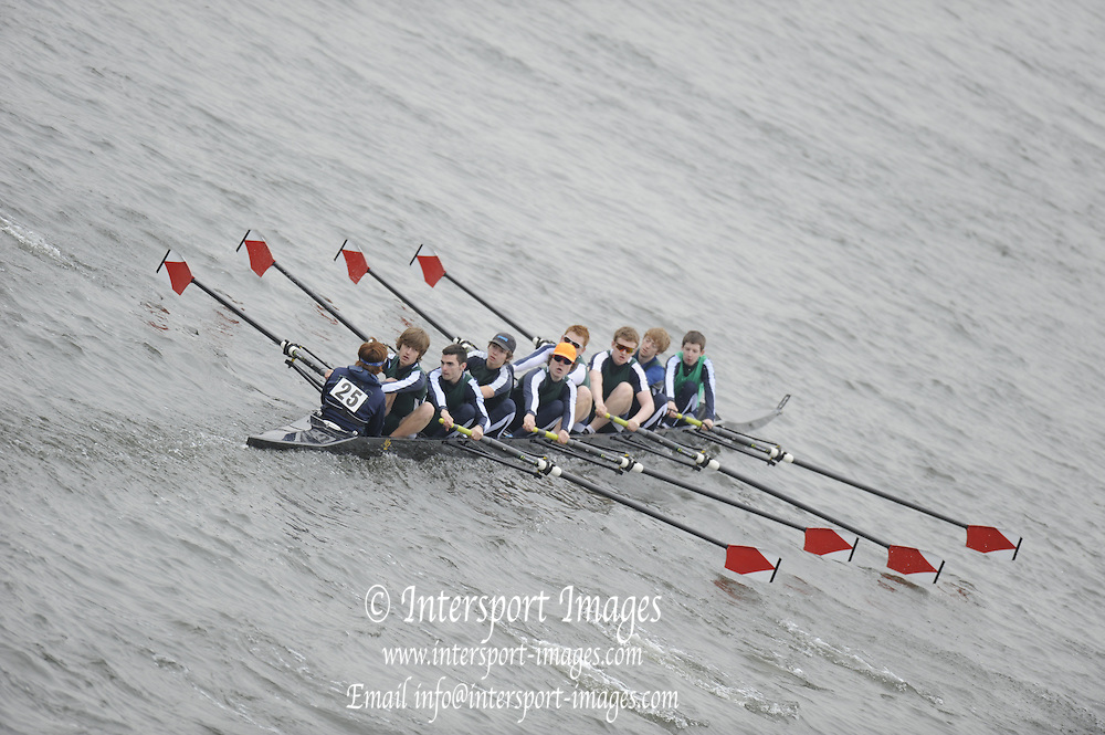 Chiswick. London.  RGS Worcester, approach the start line as they compete in the 2011 Schools Head of the River Race, Mortlake to Putney, over the  Championship Course.Taken from Chiswick Bridge.  Thursday  17/03/2011 [Mandatory Credit, Peter Spurrier/Intersport-images]