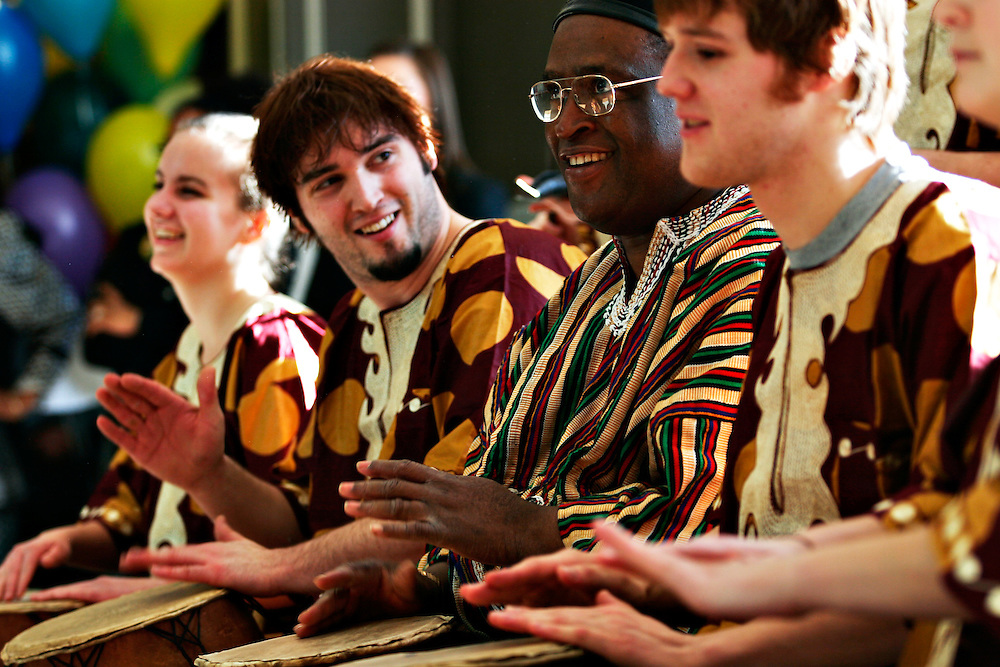 Members of the African Performance Ensemble play African music and dance during the grand opening of the Baker Center Feb. 11, 2007 in the Baker Center, Ohio University, Athens, Ohio.