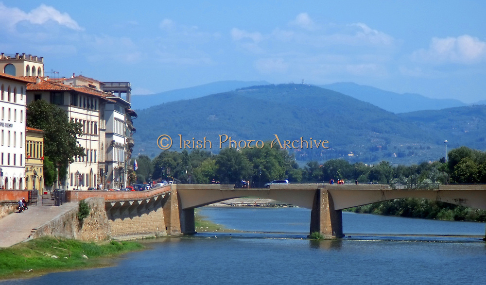 A bridge over the Arno in Florence, Italy. It is the neighbouring bridge to the famous Ponte Vecchio.