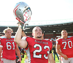 15.07.2011, Ernst Happel Stadion, Wien, AUT, American Football WM 2011, Austria (AUT) vs Australia (AUS), im Bild Florian Hiess (Austria, #23, RB) after the win // during the American Football World Championship 2011 game, Austria vs Australia, at Ernst Happel Stadion, Wien, 2011-07-15, EXPA Pictures © 2011, PhotoCredit: EXPA/ T. Haumer