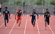 Christian Grubb of Sherman Oaks Notre Dame (second from right) wins the 100m in 10.58 during the 2019 CIF Southern Section Masters Meet in Torrance, Calif., Saturday, May 18, 2019. From left: Patrick Izeiamu (Chaminade), Mekhi Mays (Serra), Grubb and Caleb Lutalo Roberson (Upland)