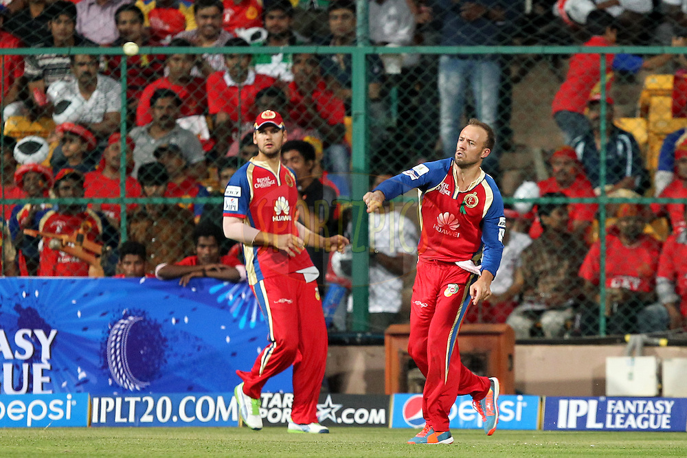 AB de Villiers of the Royal Challengers Bangalore fields the ball on boundary during match 24 of the Pepsi Indian Premier League Season 2014 between the Royal Challengers Bangalore and the Sunrisers Hyderabad held at the M. Chinnaswamy Stadium, Bangalore, India on the 4th May  2014Photo by Prashant Bhoot / IPL / SPORTZPICSImage use subject to terms and conditions which can be found here:  http://sportzpics.photoshelter.com/gallery/Pepsi-IPL-Image-terms-and-conditions/G00004VW1IVJ.gB0/C0000TScjhBM6ikg