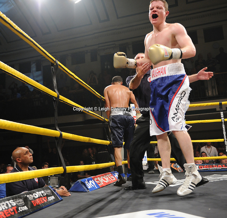 Robert Lloyd Taylor defeats Peter Vaughan after referee stops the contest in Semi Final One of Prizefighter  - The Light Middleweights II. York Hall, Bethnal Green, London, UK. 15th September 2011. Photo credit: © Leigh Dawney.