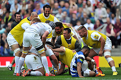 Saracens players congratulate team-mate Jamie George on his first half try - Photo mandatory by-line: Patrick Khachfe/JMP - Mobile: 07966 386802 30/05/2015 - SPORT - RUGBY UNION - London - Twickenham Stadium - Bath Rugby v Saracens - Aviva Premiership Final
