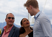 Actor Woody Harrelson, Actress Thandie Newton and Actor Joonas Suotamo at the Solo: A Star Wars Story film photo call at the 71st Cannes Film Festival, Tuesday 15th May 2018, Cannes, France. Photo credit: Doreen Kennedy