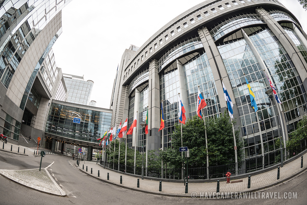 Some of the buildings that make up the European Parliament Building complex in Brussels, Belgium.