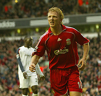 Photo: Aidan Ellis.<br /> Liverpool v Bolton Wanderers. The Barclays Premiership. 01/01/2007.<br /> Liverpool's Dirk Kuyt celebrates his goal and Liverpool's Third