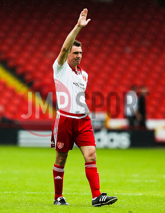 Former Sheffield United captain, Chris Morgan acknowledges the fans after his testimonial match - Mandatory by-line: Matt McNulty/JMP - 26/07/2015 - SPORT - FOOTBALL - Sheffield,England - Bramall Lane - Sheffield United v Newcastle United - Pre-Season Friendly