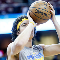 08 June 2016:  Golden State Warriors forward Anderson Varejao (18) warms up prior to the Cleveland Cavaliers 120-90 victory over the Golden State Warriors, during Game Three of the 2016 NBA Finals at the Quicken Loans Arena, Cleveland, Ohio, USA.