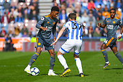 Demarai Gray of Leicester City (7) in action during the Premier League match between Huddersfield Town and Leicester City at the John Smiths Stadium, Huddersfield, England on 6 April 2019.