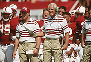 PALO ALTO, CA -  SEPTEMBER 26:  Head coach Bill Walsh of Stanford University reacts on the sidelines during an NCAA football game against San Jose State played at Stanford Stadium in Palo Alto, California on September 26, 1992. (Photo by David Madison/Getty Images) *** Local Caption *** Bill Walsh