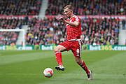 Middlesbrough forward Jordan Rhodes (9) gets into the box during the Sky Bet Championship match between Middlesbrough and Ipswich Town at the Riverside Stadium, Middlesbrough, England on 23 April 2016. Photo by Simon Davies.