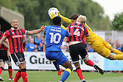 Shrewsbury Town FC goalkeeper Jayson Leutwiler makes a save during the EFL Sky Bet League 1 match between AFC Wimbledon and Shrewsbury Town at the Cherry Red Records Stadium, Kingston, England on 24 September 2016. Photo by Stuart Butcher.
