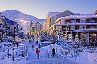 Town Plaza in the winter, in Whistler Village, leads to Whistler Mountain.