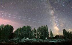 July 4, 2017 - Zhangye, Zhangye, China - Zhangye, CHINA-June 29 2017: (EDITORIAL USE ONLY. CHINA OUT) ..Scenery of starry night in Zhangye, northwest China¡¯s Gansu Province. (Credit Image: © SIPA Asia via ZUMA Wire)