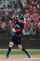 KELOWNA, CANADA - JUNE 28: Retired NHL player Scott Hartnell hits the ball during the second inning of  the opening charity game of the Home Base Slo-Pitch Tournament fundraiser for the Kelowna General Hospital Foundation JoeAnna's House on June 28, 2019 at Elk's Stadium in Kelowna, British Columbia, Canada.  (Photo by Marissa Baecker/Shoot the Breeze)