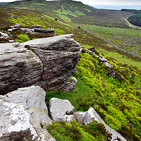 Looking toward Simonside from Dove Crag in the Simonside Hills near Rothbury Northumberland England