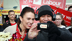 Auckland-Labour leader Jacinda Ardern campaigns at Avondale Markets