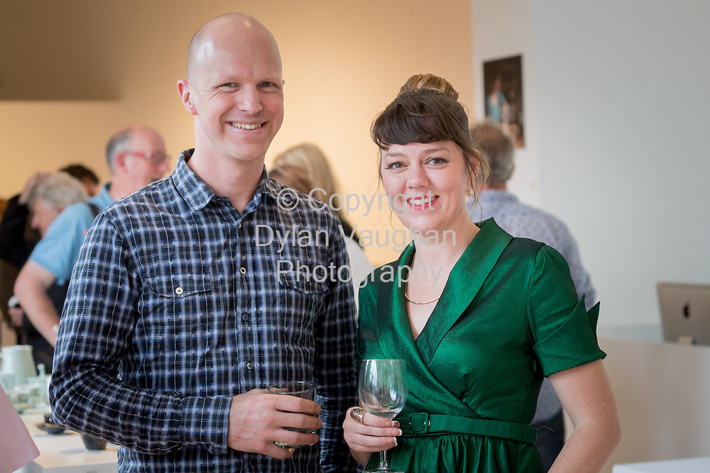 Repro Free No Charge for use<br /> <br /> 15-7-16<br /> <br /> Christopher Heltzel and Karen Morgan pictured at the opening of Cr&eacute;, an exhibition of work by the 2016 graduates of the Design &amp; Crafts Council of Ireland&rsquo;s Ceramics Skills &amp; Design Course. <br /> <br /> The exhibition was officially opened by Dr. Audrey Whitty, Keeper of the Art and Industrial Division, National Museum of Ireland &ndash; Decorative Arts &amp; History. <br /> <br /> Cr&eacute; is open at the National Craft <br /> Gallery, Kilkenny until 1st August 2016.<br /> <br /> Picture Dylan Vaughan