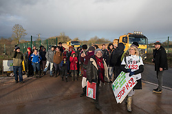 Harefield, UK. 17 January, 2020. Sarah Green (wearing grey headwear) of Save Colne Valley leads activists from Stop HS2 and Extinction Rebellion on a tour of sites where HS2 has destroyed and is intending to destroy trees at the beginning of a three-day 'Stand for the Trees' protest in the Colne Valley. The event has been timed to coincide with tree felling work by HS2 adjacent to the site of Stop HS2's Colne Valley wildlife protection camp. 108 ancient woodlands are set to be destroyed by the high-speed rail link.
